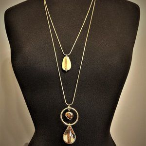 Chico's Long Double Strand Gold Pendant Necklace